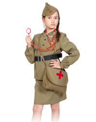 Soviet Uniform stage costume for girls ''Army doctor''