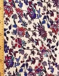 Tissu Viscose Imprimé au metre ''Purple-Pink Orchid Flowers On Milk''}