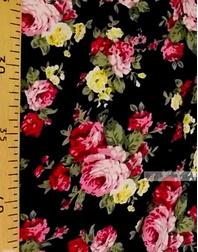 Tissu Viscose Imprimé au metre ''Yellow-Pink Roses On Black''}