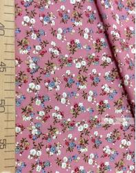 Tissu Viscose Imprimé au metre ''Bouquet Of Flowers On Pink''}