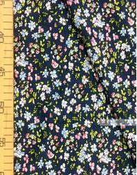 Tissu Viscose au metre ''Blue, Pink Flowers On Gray-Blue''}