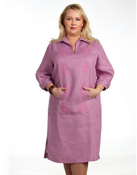 Casual linen dress with embroidery ''Marina''