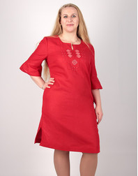 Casual linen dress with embroidery ''Valery''