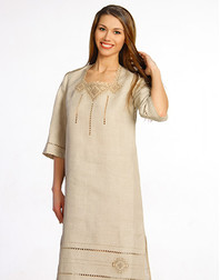 Casual linen dress with embroidery ''Milana''