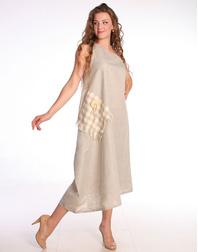 Linen sarafan ''Patchwork''