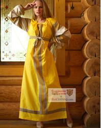 yellow linen slavic dress