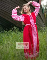 red Russian dress