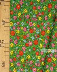 Tissu coton fleuri au metre ''Small Wildflowers On Green''}