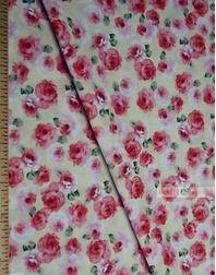 Tissu coton fleuri au metre ''Medium, Roses On A Cream Field''}