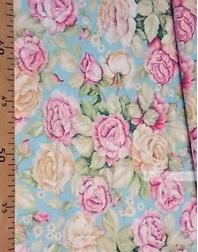 Tissu coton fleuri au metre ''Delicate Roses On Cream''}