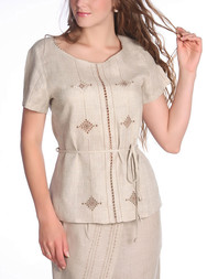 Linen blouse with cutwork embroidery