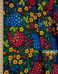 Russian Fabric Designs ''Currant On Black''}