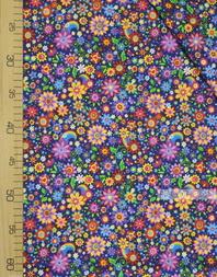 Tissu coton imprime au metre ''Bright Colors On Dark Blue''}