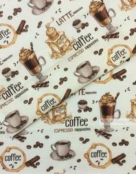 Tissu coton gaufré au metre ''Coffee''}