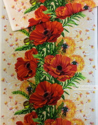Waffle Textured Fabric by the yard ''Red Poppies With Dandelions''}