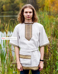 Traditional linen Russian shirt ''Nikita'' for men