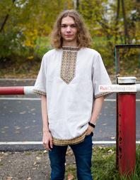 Traditional linen Russian shirt ''Nikita'' for men