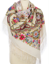 Wool shawl ''Snowflakes and flowers''