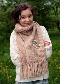 Fluffy hand knit scarf