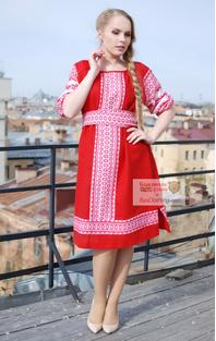 Russian dress red linen