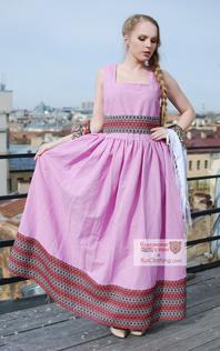 pink linen sarafan Russian style