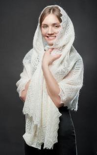 Down pashmina wrap ''Snowstorm''