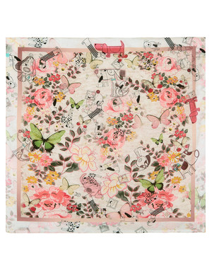 Foulard en coton ''Dogs and butterflies''
