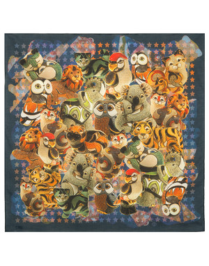 Cotton head scarf ''Animals''