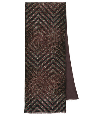 Men silk scarf with wool linen ''Diamonds''