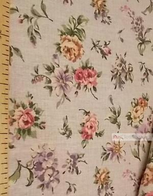 Tissu coton fleuri au metre ''Pastel Flowers On Gray''}