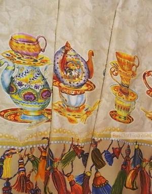 Vintage Fabric Ornament by the yard ''Eastern Samovar''}