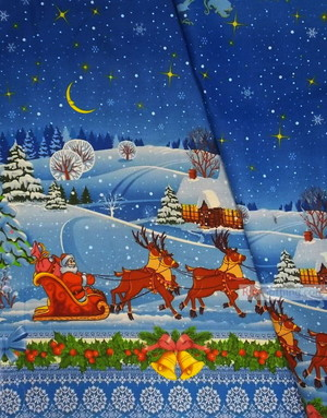 Vintage Fabric Prints by the yard ''New-Year''}
