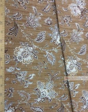 Fabric Folk Decorations by the yard ''Oriental Flowers On Dark Beige''}