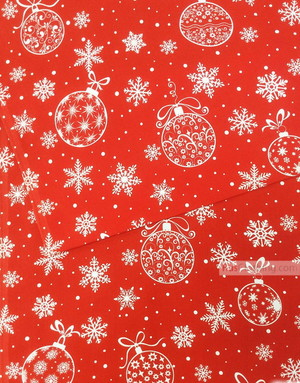Tissu ethnique au metre ''Snowflakes And Christmas Balls On Red''}