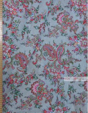 Tissu coton pasley au metre ''Paisley On Grey-Blue''}