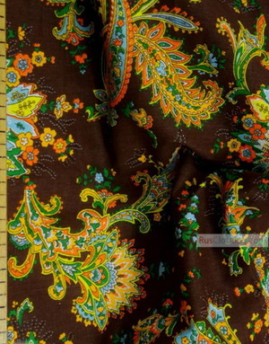 Paisley coton fabric by the yard ''Paisley On Dark Brown''}