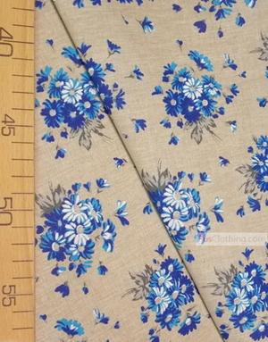 Tissu coton fleuri au metre ''Bouquet Of Blue Daisies On Gray''}