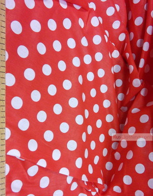 Vintage Fabric Prints by the yard ''Large Peas, White On Red''}