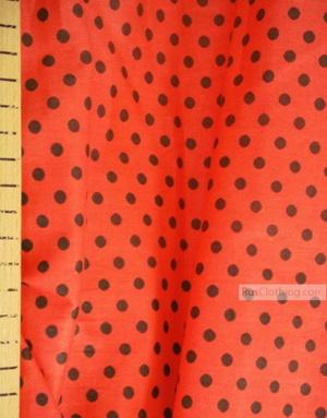 Tissu vintage au metre ''Small Peas, Black On Red''}