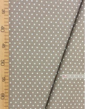 Tissu coton imprime au metre ''Light Grey Small Polka Dots On Beige''}