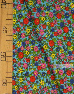 Floral cotton fabric by the yard ''Small Wildflowers On Turquoise''}
