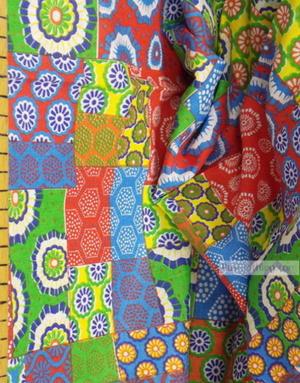 Tissu ethnique au metre ''Yellow-Green Flap''}
