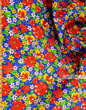 Floral cotton fabric by the yard ''Wild Flowers On Blue''}