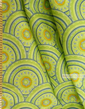 Geometric Print Fabric ''Green Circles''}