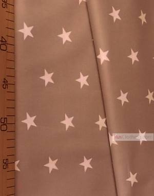 Tissu enfant au metre ''White Star On Coffee''}