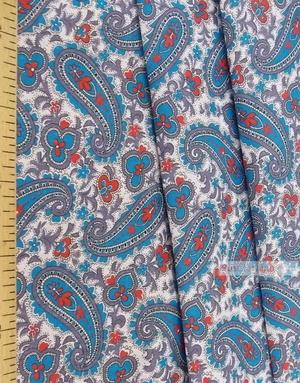 Tissu coton pasley au metre ''Blue Paisley On White''}