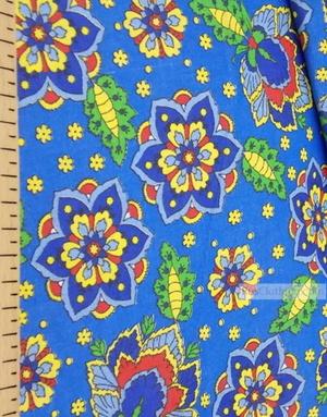 Fabric Folk Decorations by the yard ''Flowers In Blue Field''}