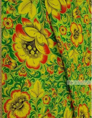 Russian Fabric Patterns ''Khokhloma In Green''}