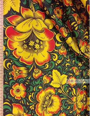 Russian Fabric Patterns ''Khokhloma Is Bright Green On Black''}