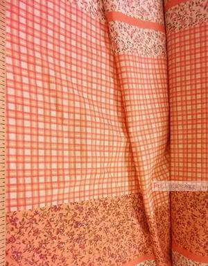 Tissu géométrique au metre ''Flowers And Orange Cage''}